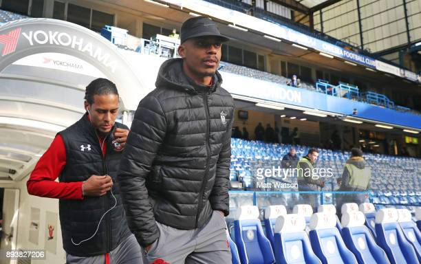 Southampton's Virgil Van Dijk and Mario Lemina ahead of the Premier League match between Chelsea and Southampton at Stamford Bridge on December 16...