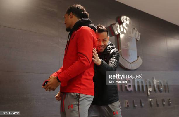 Southampton's Virgil Van Dijk and Maya Yoshida ahead of the Premier League match between Southampton and Arsenal at St Mary's Stadium on December 10...