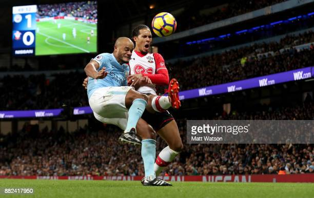 Southamptonâs Virgil Van Dijk and Vincent Kompany during the Premier League match between Manchester City and Southampton at the Etihad Stadium on...