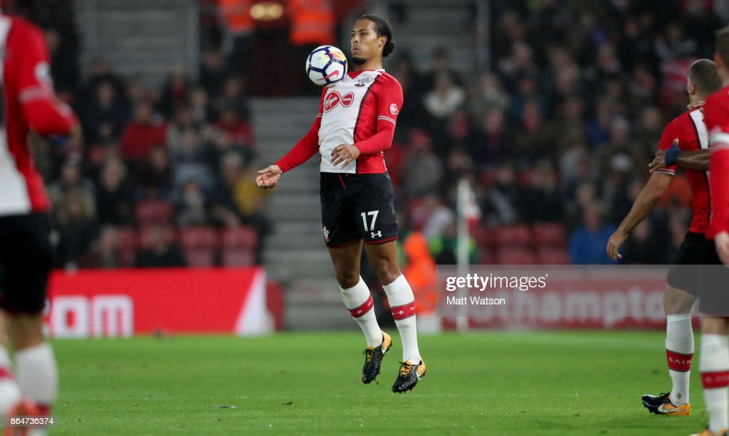 Southampton's Virgil Van Dijk during the Premier League match between Southampton and West Bromwich Albion at St Mary's Stadium on October 21, 2017 in Southampton, England.