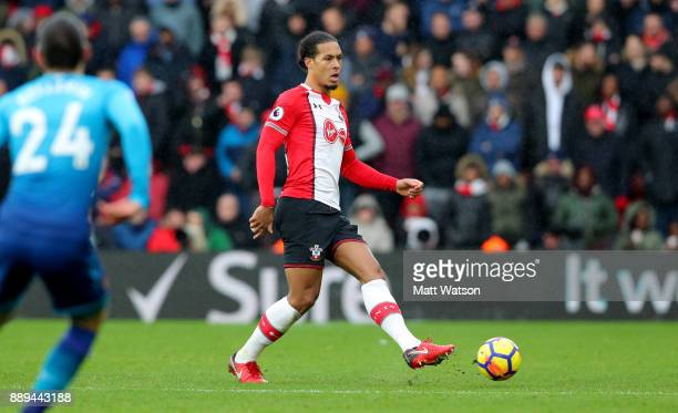 Southampton's Virgil Van Dijk during the Premier League match between Southampton and Arsenal at St Mary's Stadium on December 10 2017 in Southampton...