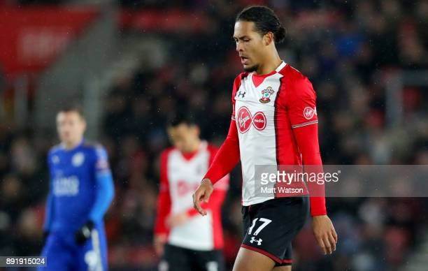 Southampton's Virgil Van Dijk during the Premier League match between Southampton and Leicester City at St Mary's Stadium on December 13 2017 in...