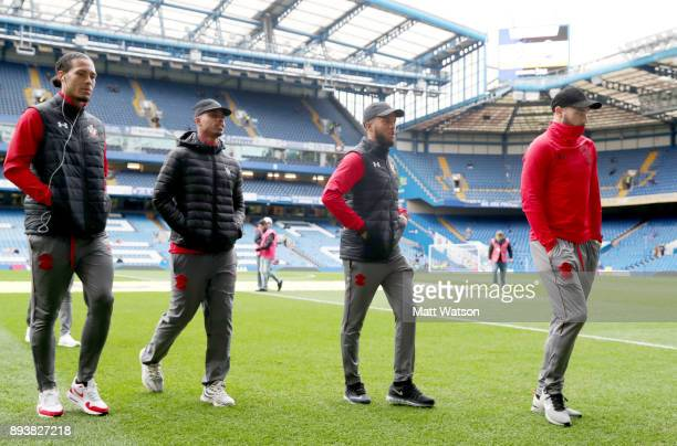 Southampton's Virgil Van Dijk Mario Lemina Ryan Bertrand and Charlie Austin ahead of the Premier League match between Chelsea and Southampton at...