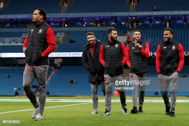 Southampton's Virgil Van Dijk Sam McQueen Charlie Austin Wesley Hoedt and Ryan Bertrand ahead of the Premier League match between Manchester City and...