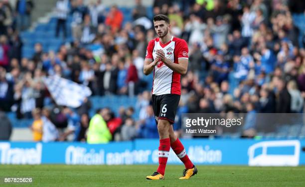 Southampton's Wesley Hoedt during the Premier League match between Brighton and Hove Albion and Southampton at the Amex Stadium on October 28 2017 in...