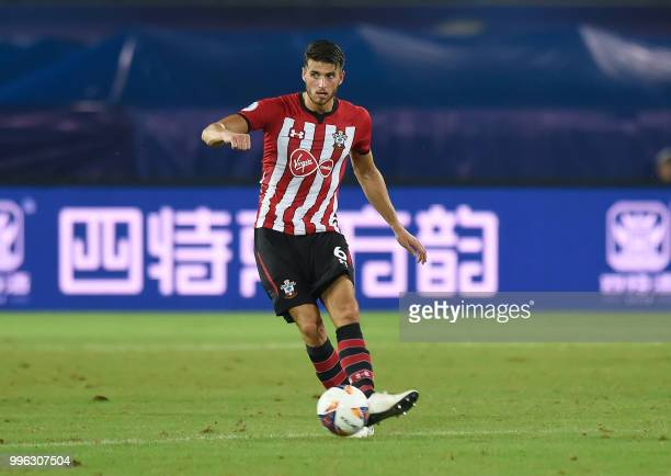 Southampton's Wesley Hoedt kicks the ball during the 2018 CSC International Football Club Super Cup football match between English Premier League...