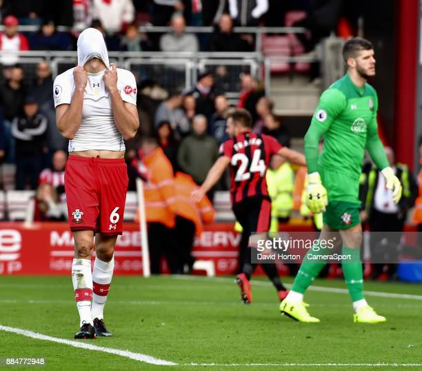 Southampton's Wesley Hoedt shows his frustration as Southampton concede the matches opening goal during the Premier League match between AFC...
