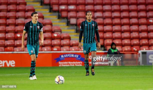 Southamton's Virgil Van Dijk during the Premier League 2 match between Aston Villa and Southampton at Banks' Stadium on September 11 2017 in Walsall...