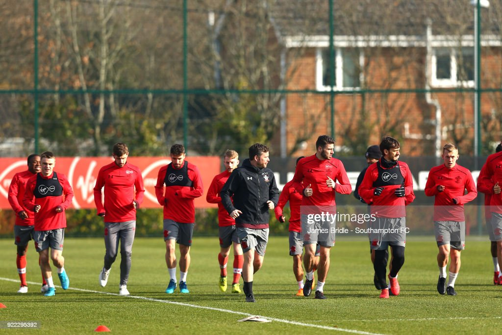 Southamtpon FC players during a Southampton FC training session at Staplewood Complex on February 21, 2018 in Southampton, England.