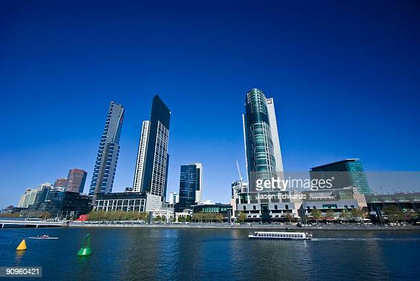 Casino's, apartments and restaurants on the banks of the Yarra River.