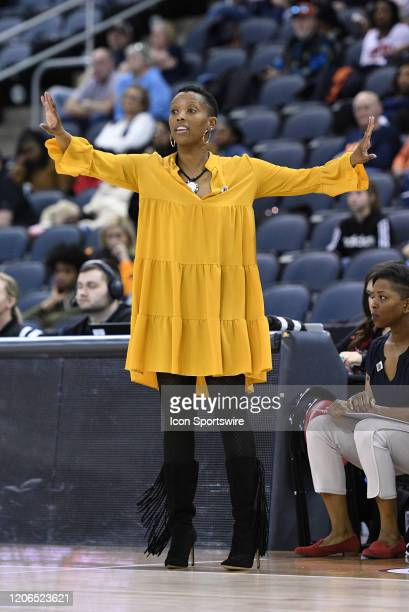 Southeast Missouri Redhawks head coach Rekha Patterson directs her players during the Womens Ohio Valley Conference Tournament championship game...