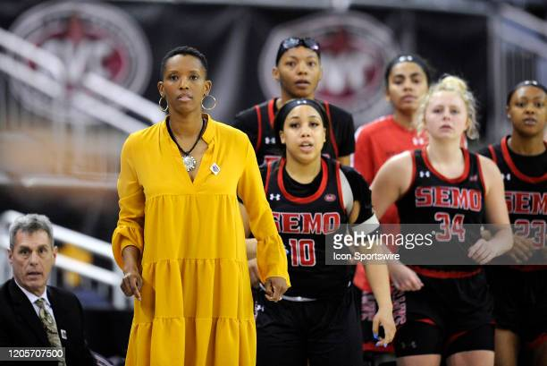 Southeast Missouri Redhawks head coach Rekha Patterson looks on during the Womens Ohio Valley Conference Tournament championship game between the UT...