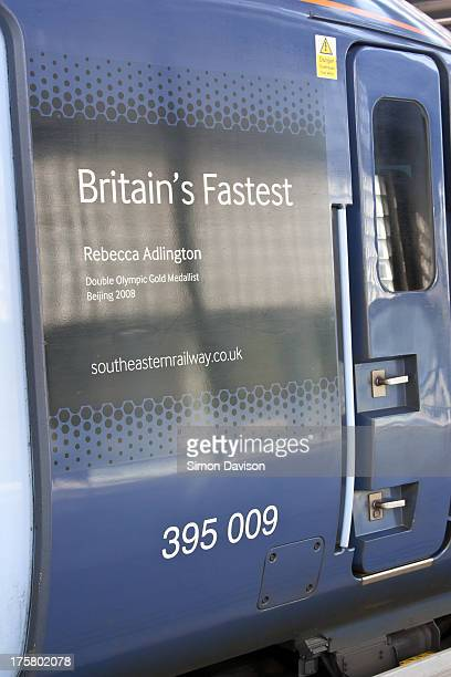 Southeastern decided to name their high speed trains after London 2012 athletes. 390009 was named Rebecca Adlington which is shown on the side of the...