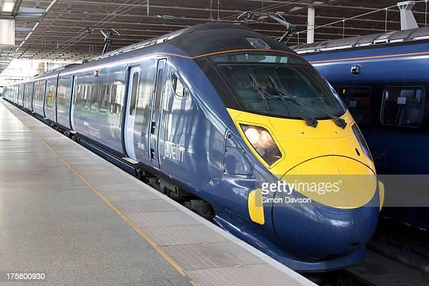 Southeastern Hitachi high speed 395009 Rebecca Adlington sits on platform 13 at St Pancras International on 10/07/13.