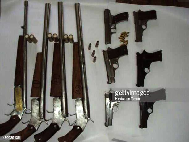 SouthEastern Range Crime Branch Delhi police arrested a man Usman involved in illegal weapons trade at PHQ on March 22 2014 in New Delhi India Usman...