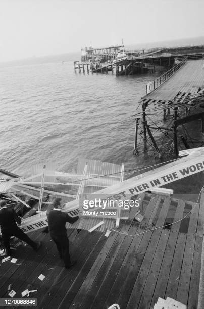 Southend Pier in SouthendonSea Essex a few days after the tanker 'MV Kingsabbey' sliced through it destroying the lifeboat station 2nd July 1986 Two...