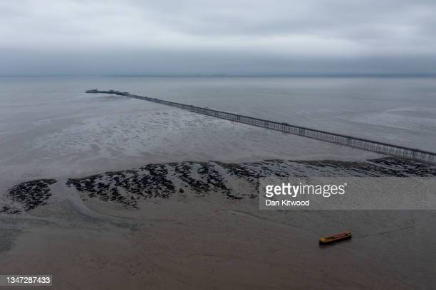 Southend Pier, the longest pleasure pier in the world, stretches into the distance on October 18, 2021 in Southend, England. The campaign to make...
