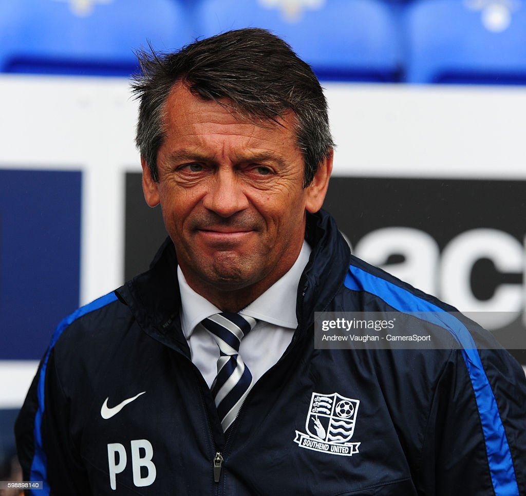 Southend United manager Phil Brown during the Sky Bet League One match between Bolton Wanderers and Southend United at Macron Stadium on September 3, 2016 in Bolton, England.