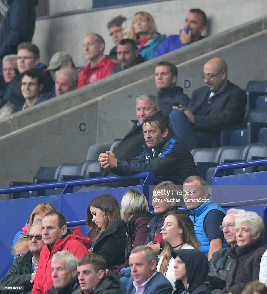 Southend United manager Phil Brown watches the end of the game from the stands after being sent their by Referee Sebastian Stockbridge during the Sky Bet League One match between Bolton Wanderers and Southend United at Macron Stadium on September 3, 2016 in Bolton, England.