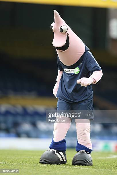 Southend United mascot Sammy the Shrimp entertains the crowd prior to the npower League Two match between Southend United and Northampton Town at...