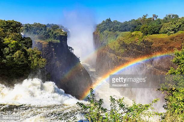 Southern Africa, Zimbabwe, Victoria Falls, Devils Cataract with rainbow