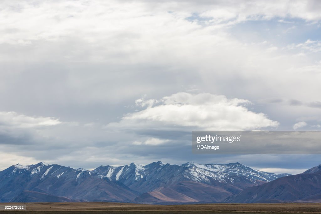 Southern Alps in background, Mackenzie Country, South Island, New Zealand : Stock Photo