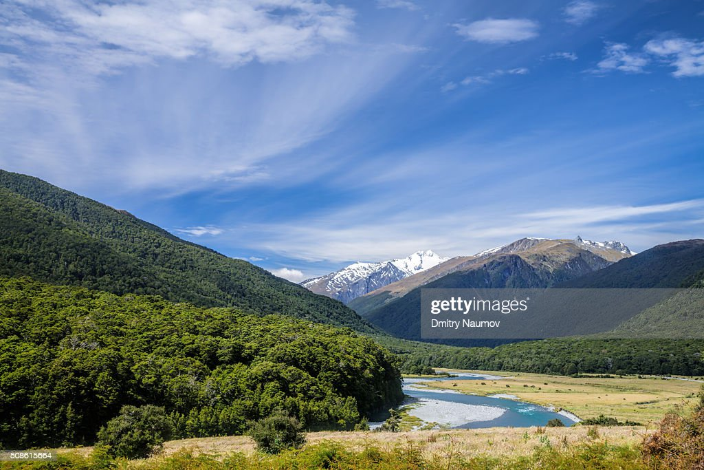 Southern Alps near Haast Pass and Makarora River in New Zealand : Stock Photo