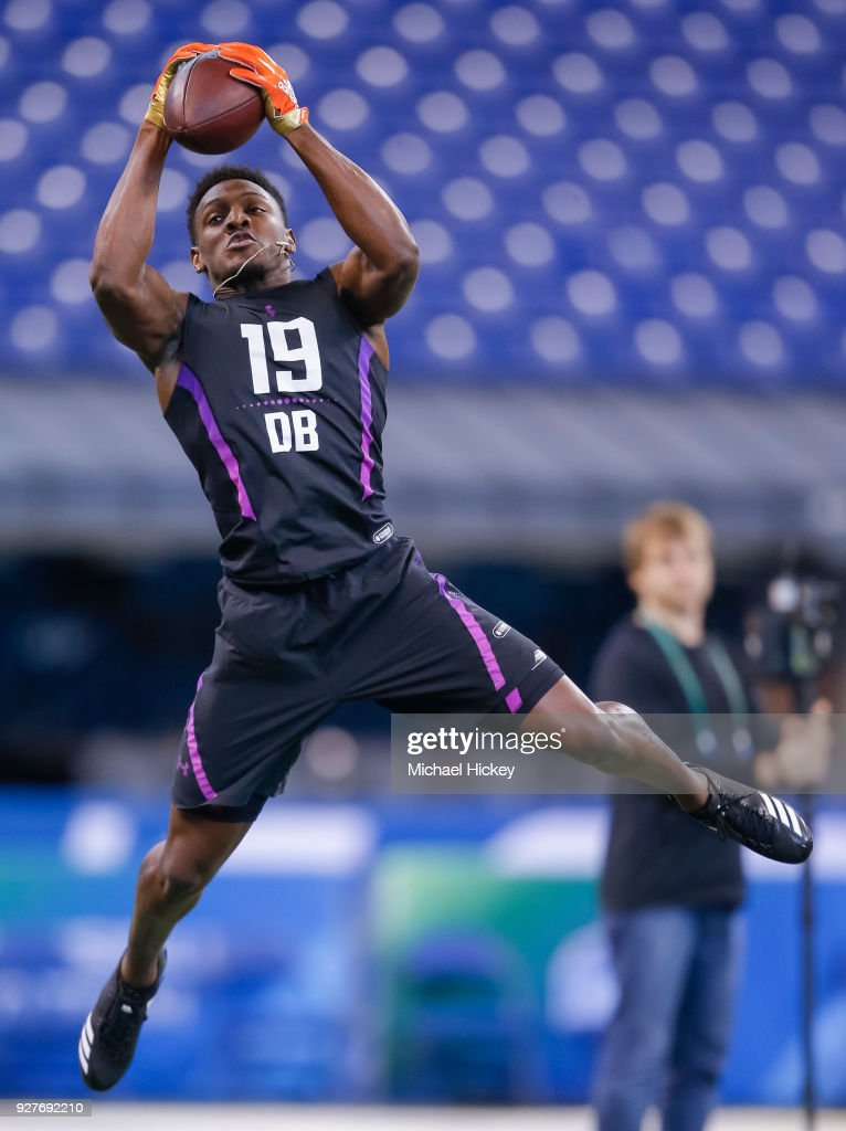 Southern A&M defensive back Danny Johnson (DB19) makes a catch during the NFL Scouting Combine at Lucas Oil Stadium on March 5, 2018 in Indianapolis, Indiana.