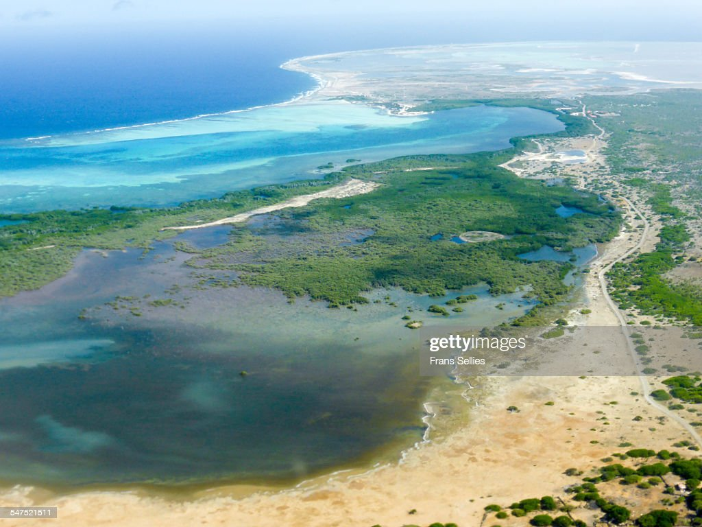 Southern Bonaire from the air : Stock Photo