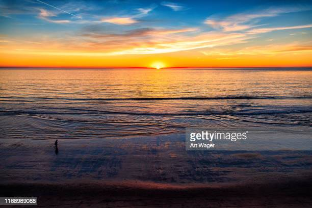 southern california beach at sunset - carlsbad california stock pictures, royalty-free photos & images