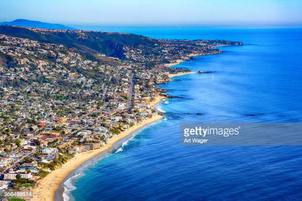 southern california coastal aerial - orange county crowded beaches stock pictures, royalty-free photos & images