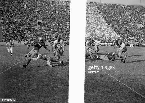A Southern California lineman wraps his arms around Jackie Robinson to halt the star UCLA halfback as the teamswith dismal season recordsbattled for...