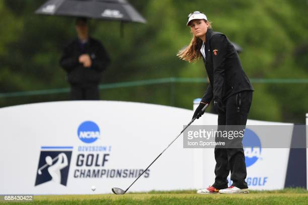 Southern California Trojans' Victoria Morgan tees off at the first hole during the NCAA Division 1 Women's golf championship semifinals on May 23 at...