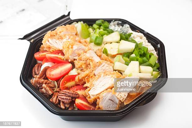 southern cobb salad in black plastic bowl - ready to eat stock photos and pictures