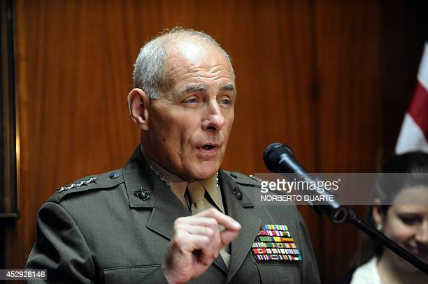 US Southern Command commander General John F Kelly speaks during a press conference on July 30 2014 at the National Defense Ministry in Asuncion...