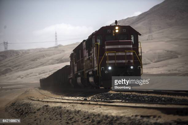 A Southern Copper Corp private train carries copper concentrate from the high Andes mountains to the company's smelter facility and Pacific ports in...