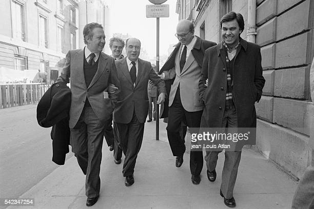 Southern European Socialist leaders Mario Soares Lionel Jospin Francois Mitterrand Bettino Craxi and Felipe Gonzalez in the streets of Paris