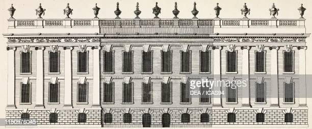 Southern facade of Chatsworth House, Derbyshire, United Kingdom, engraving from a drawing by Campbell, from Vitruvius Britannicus or The British...