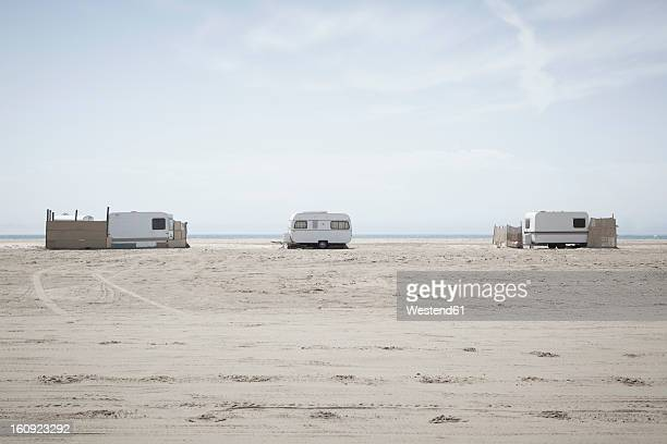 Southern France, View of camping trailers on beach at Camargue