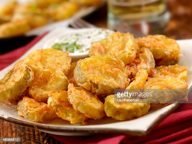 southern fried pickles - fried stock pictures, royalty-free photos & images