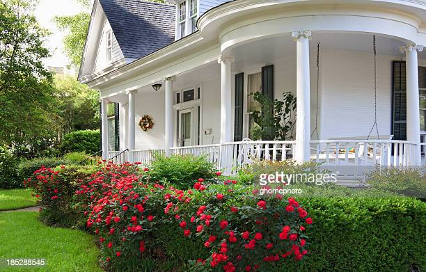 southern home with porch - victorian style stock pictures, royalty-free photos & images
