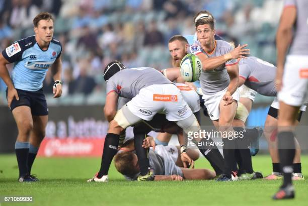 Southern Kings player Louis Schreuder clear the ball against the Waratahs during the Super15 rugby match between Waratahs and South Africa's Southern...