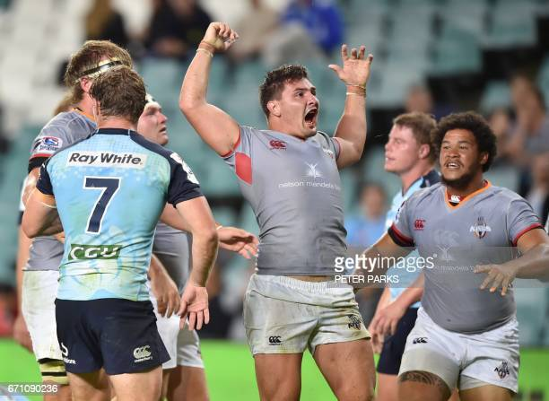 Southern Kings player Micheal Willemse celebrates after scoring a try against the Waratahs during the Super15 rugby match between Waratahs and South...