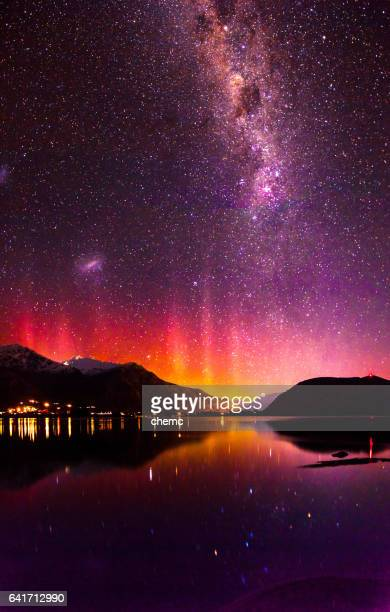 southern lights - aurora australis stock pictures, royalty-free photos & images