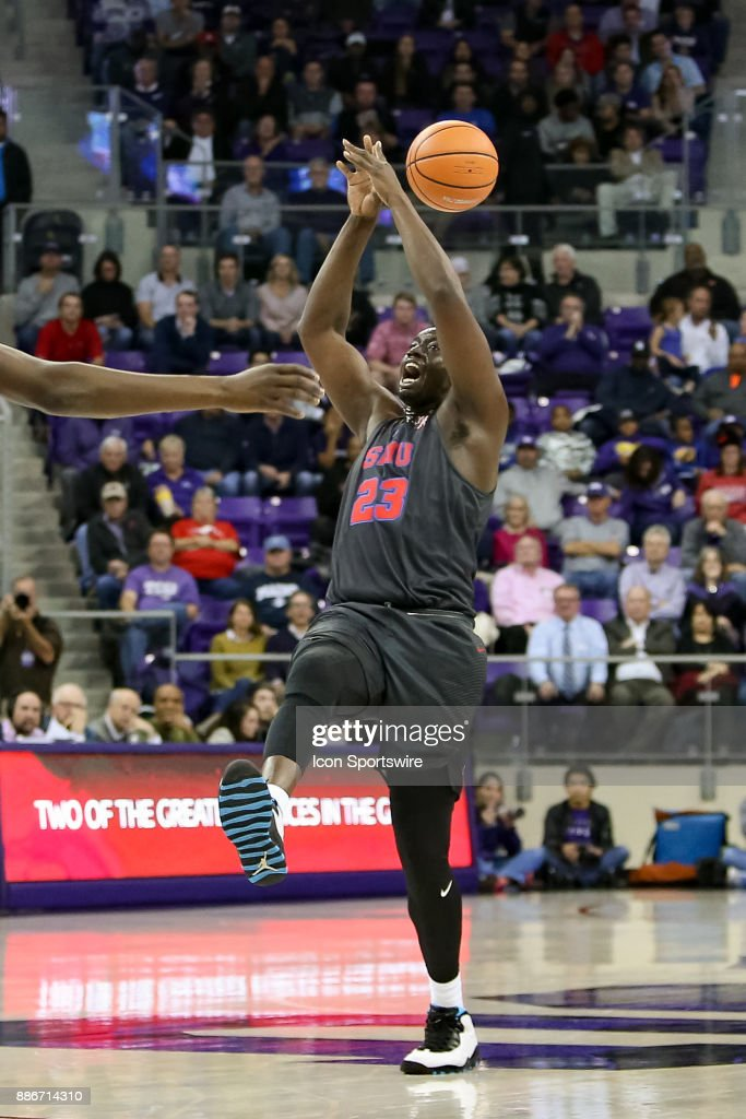Southern Methodist Mustangs forward Akoy Agau (23) loses the handle on a pass during the game between the SMU Mustangs and TCU Horned Frogs on December 5, 2017 at Ed & Rae Schollmaier Arena in Fort Worth, TX.