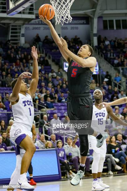 Southern Methodist Mustangs forward Ethan Chargois drives the lane during the first half between the SMU Mustangs and TCU Horned Frogs on December 5...