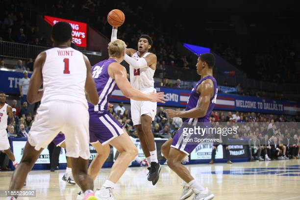 Southern Methodist Mustangs forward Jahmar Young Jr passes the ball during the game between SMU and Abilene Christian on November 29 2019 at Moody...