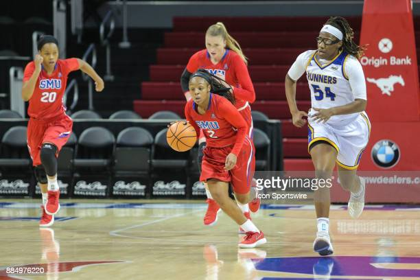 Southern Methodist Mustangs guard Ariana Whitfield brings the ball up court during the game between SMU and Cal State Bakersfield on December 3 2017...