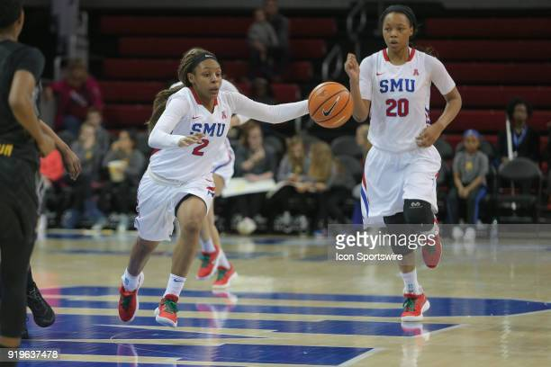 Southern Methodist Mustangs guard Ariana Whitfield brings the ball up court during the game between SMU and Wichita State on February 17 2018 at...