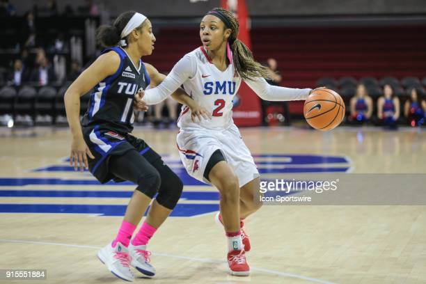 Southern Methodist Mustangs guard Ariana Whitfield fights for position during the game between SMU and Tulsa on February 7 at Moody Coliseum in...